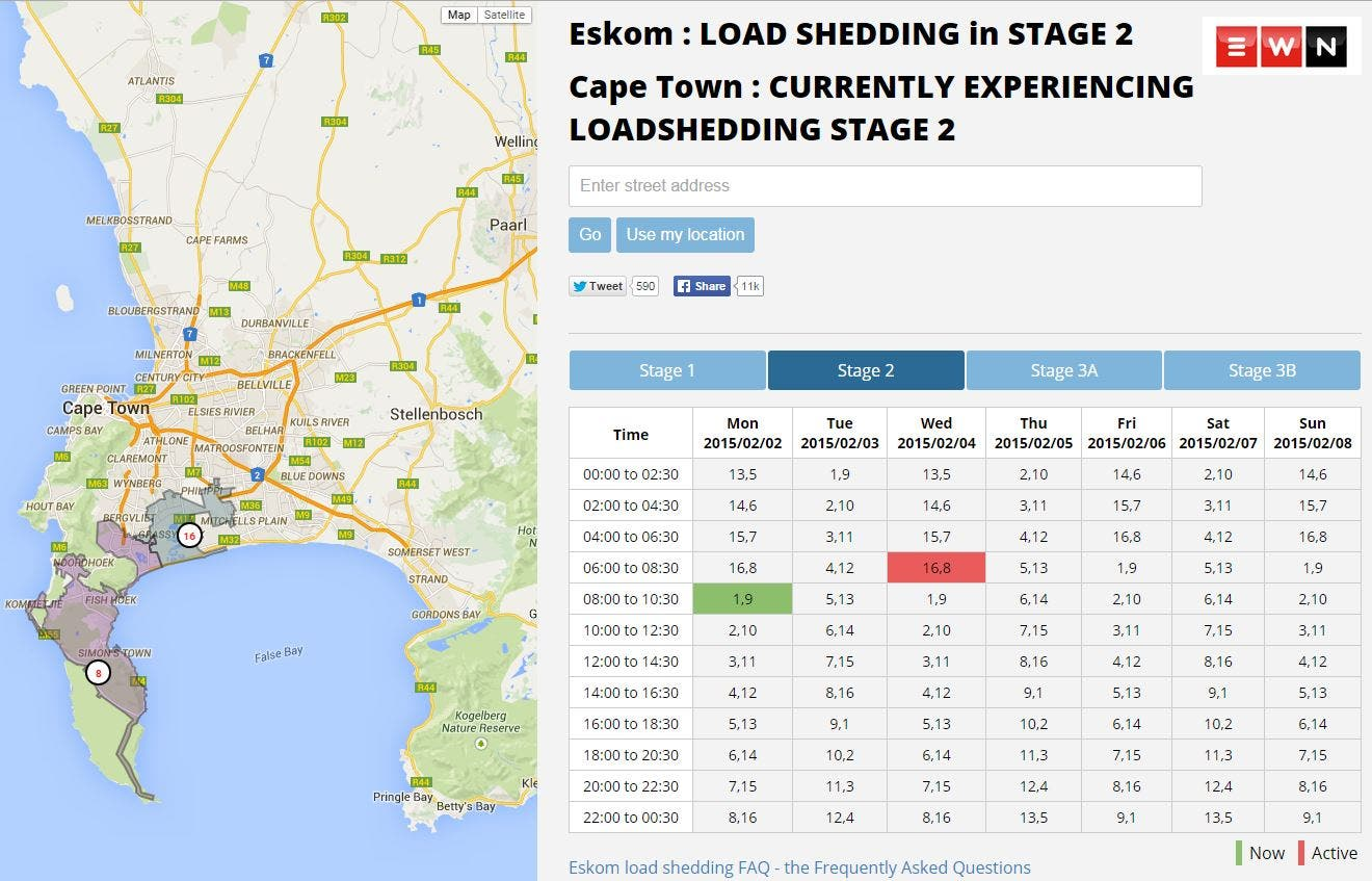 Loadshedding Cape Town Twitter: Load-shedding Data Map Cape Town