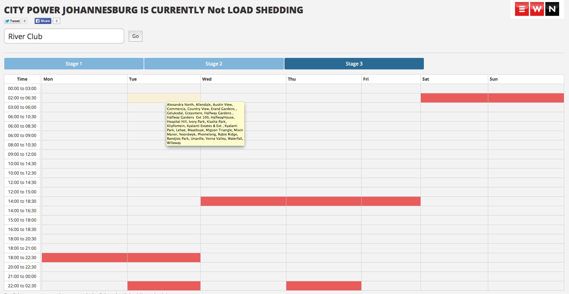 Load Shedding Johannesburg: Load-shedding Data Tool Gauteng